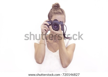 young photographer taking picture