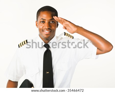 Young Pilot isolated on a white Background - stock photo