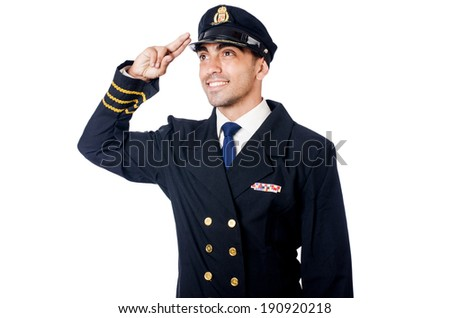 Young pilot isolated on the white - stock photo