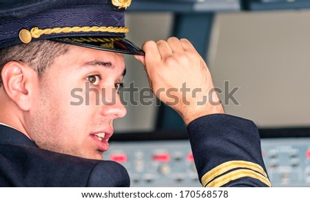 Young Pilot ready for Takeoff - stock photo
