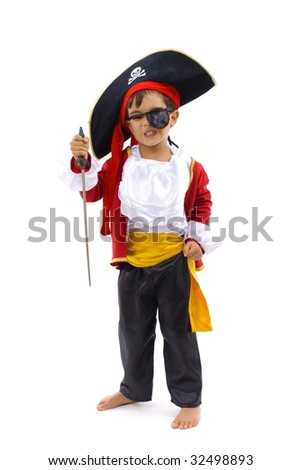 Young Pirate on white background . - stock photo