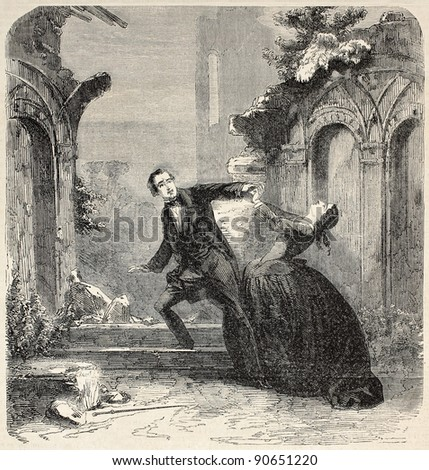 Young poor man romance, theatrical representation, second act. Created by Worms, published on L'Illustration, Journal Universel, Paris, 1858 - stock photo