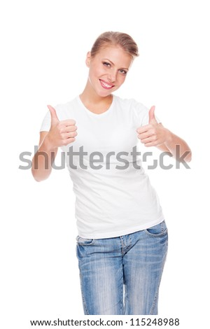young positive blonde showing thumbs up and smiling. isolated on white background - stock photo