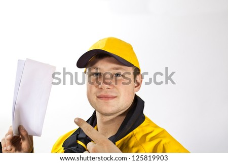 Young postman in a postman uniform