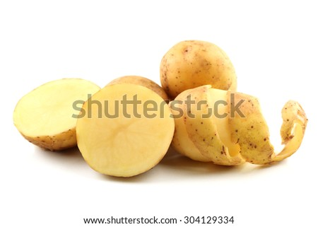 young potatoes isolated on white
