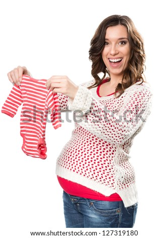 Young pregnant woman with romper - stock photo