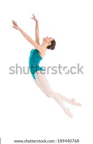 young pretty ballet dancer is jumping in contemporary dance