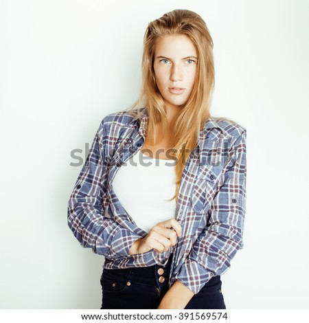 young pretty blond girl hipster posing frendly against white background wall, smiling woman with long hair - stock photo