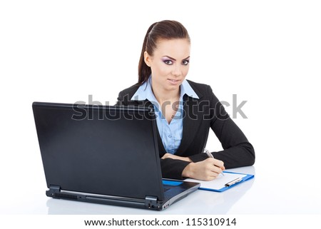 Young pretty business woman with notebook prepared to write, looking at the camera. isolated on white - stock photo