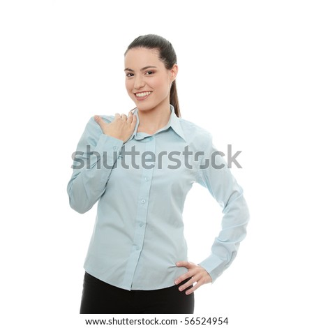 Young pretty businesswoman isolated on white background - stock photo