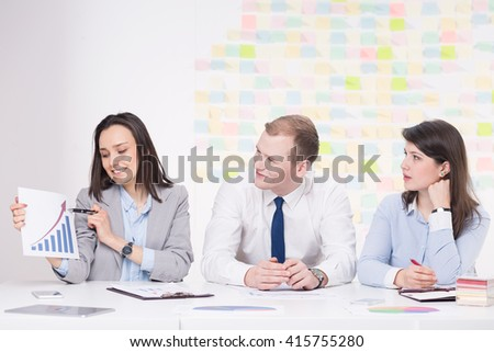 Young pretty elegant businesswoman presenting results of survey during business consultation - stock photo