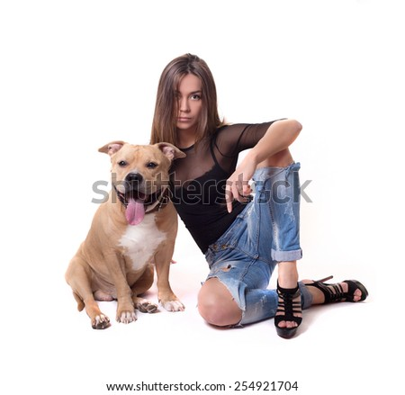 young pretty fashion woman with red staffordshire terrier