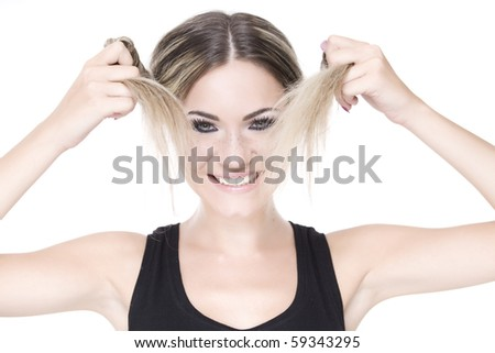 young pretty girl portrait over white background