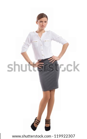 Young pretty office lady posing for photo, on white background