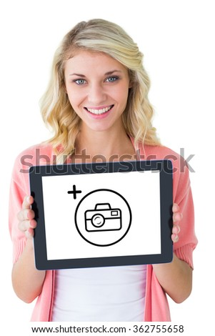 Young pretty student showing tablet pc against photography apps - stock photo