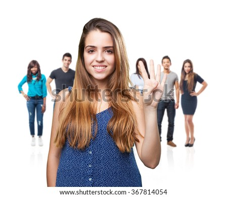 young pretty woman doing number four gesture - stock photo