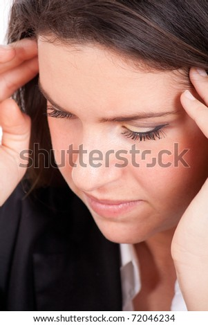 Young pretty woman having headache - stock photo