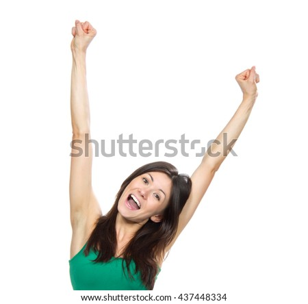 Young pretty woman hold hands up raised arms scream yelling isolated on a white background