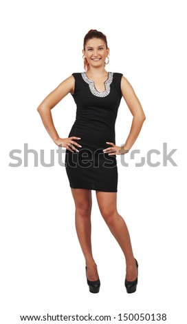 Young pretty woman in cocktail Dress isolated white
