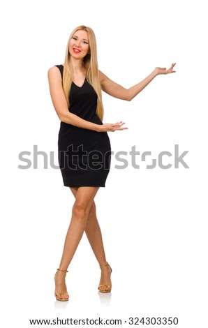 Young pretty woman in mini black dress isolated on white - stock photo