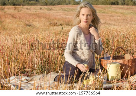 young pretty woman in the picnic
