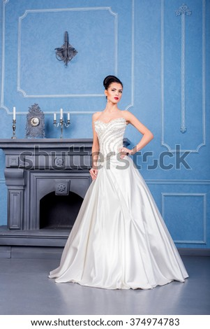 Young Pretty Woman White Wedding Dress Stock Photo (Safe to Use ...