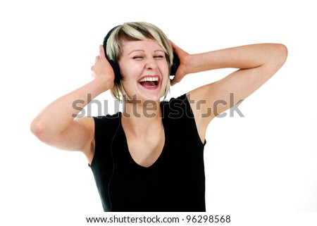 young pretty woman listening music