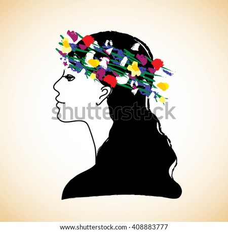 Young pretty woman profile and flowers. Color illustration.