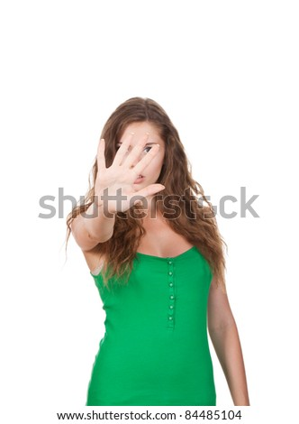 young pretty woman show stop gesture with hand isolated over white background - stock photo
