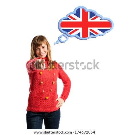 Young pretty woman thinking in learn english over white background