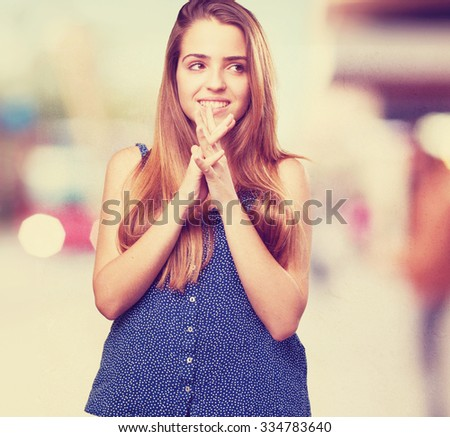 young pretty woman thinking on white background - stock photo