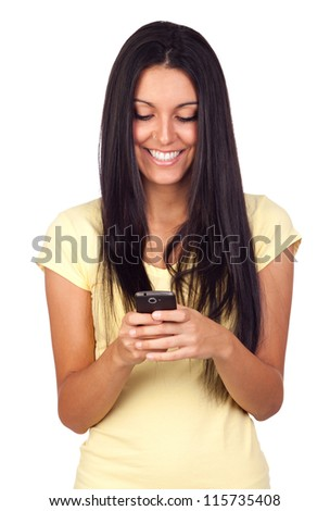 Young Pretty Woman Using a Mobile Phone Isolated on White