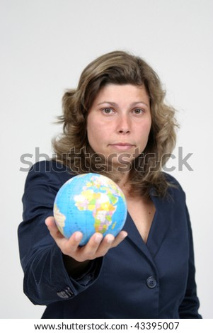 young pretty woman with Earth, earth protection photo