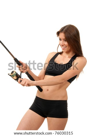 Young pretty woman with fishing pole and expensive reel fish on isolated on a white background