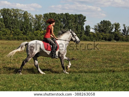 Young pretty women galloping horseback - stock photo