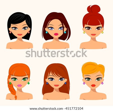 Young pretty women, pretty faces with different hairstyles, hair color. flat design, beauty and fashion. JPEG, JPG, raster - stock photo