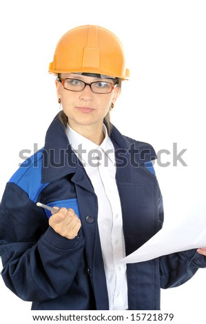 young pretty worker woman, isolated on white - stock photo