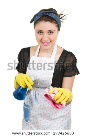 Young prettysmiling  housewife cleaning isolated on white - stock photo