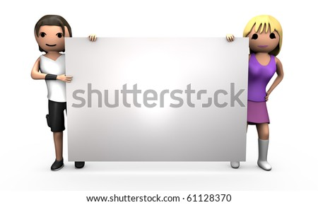 Young Professional 3D Couple Holding Large Blank Business Card - stock photo