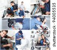 Young professional plumber doing reparation. Collage background. - stock photo