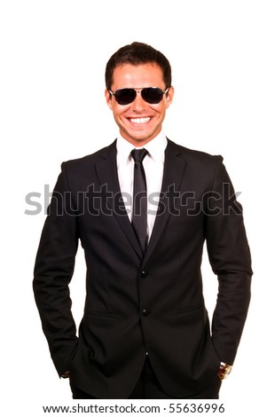 Young professional smiling with sunglasses on a white background - stock photo
