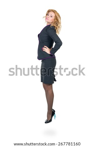 Young professional woman. Caucasian businesswoman isolated on white background in full body