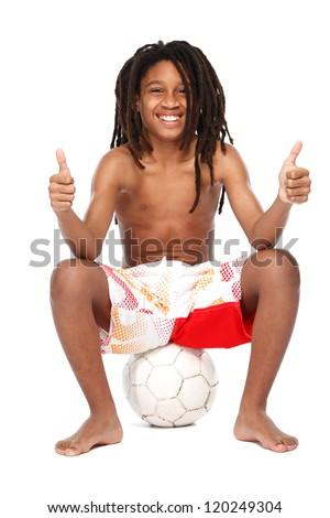 young rasta teenager posing in studio - stock photo