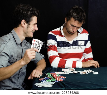 young real people playing poker
