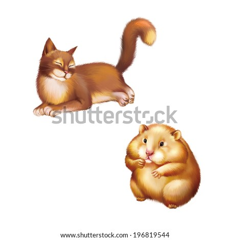 Young Red brown Cat laying, Rest., Cute red Hamster sitting, Isolated on white - stock photo