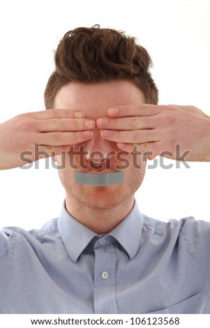 Young red hair man totally censored - stock photo