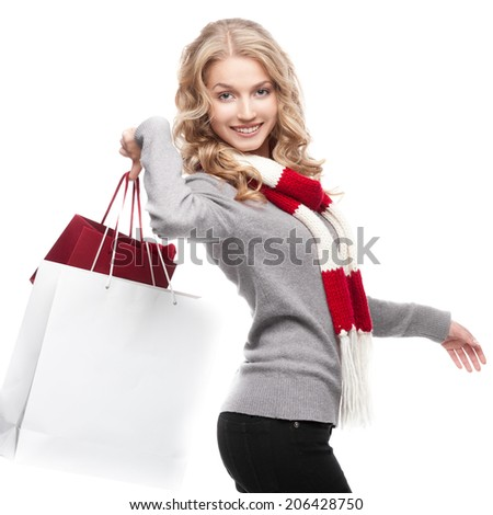 young red haired caucasian smiling business woman  isolated on white - stock photo