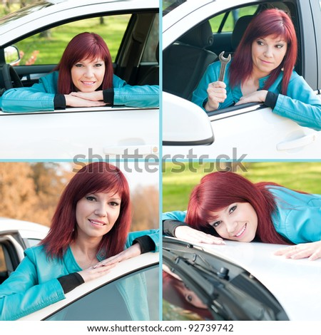 Young red-haired woman in a car outdoors, collage - stock photo