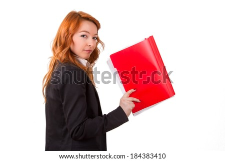 Young red head business woman holding folder or notebook, isolated on white background.