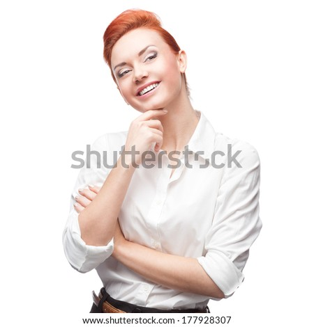 young redhaired caucasian smiling business woman  isolated on white